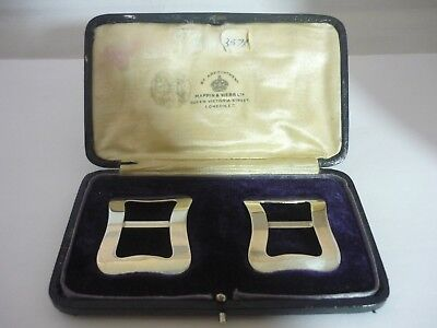 Cased Pair Of Antique Mappin & Webb Sterling Silver Buckles - Lawrence Emanuel