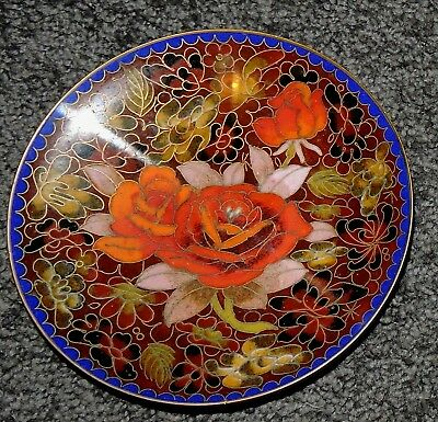 Vintage Chinese Cloisonne Medium Plate Trinket Pin Dish Red Roses Unique Flowers