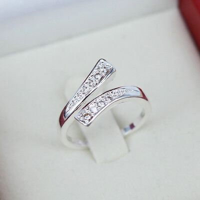 Fashion Women Silver Plated Crystal Rings Finger Band Adjustable Ring Jewelry
