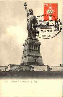 NEW YORK City Statue of Liberty mit Sonderstempel Bremerhaven Amerika Tag
