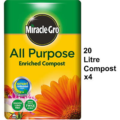 4 x Miracle-Gro All Purpose Enriched Compost 20L Potted Plants Flowers Soil Pots