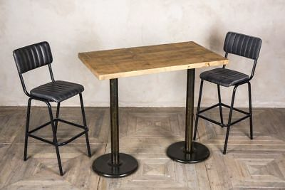 Double Pedestal Breakfast Bar Table Tall Wooden Kitchen Table Various Tops