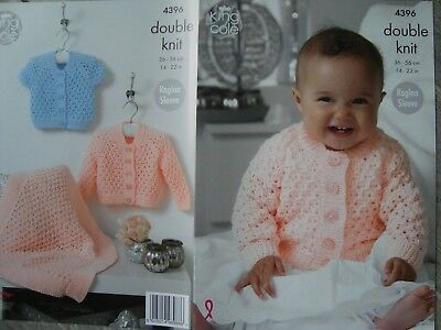 King Cole 4396 Baby's Cardigans & Blanket DK Knitting Pattern Sizes 14-22""