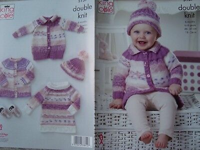 """King Cole 5137 Baby's Cardigans, Top & Hat DK Knitting Pattern Sizes 18-24"""""""