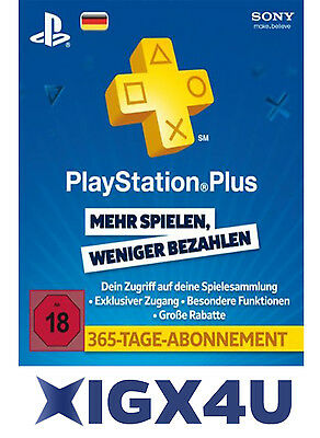PlayStation Plus Live Card PSN Network 365 Tage 1 Jahr nur Card PSN 365 DE Store