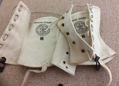 100-Year-Old Official Boy Scout White Canvas Lace-Up Leggings Medium ~ Old Stock