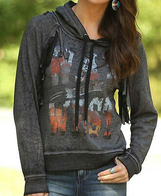 NEW Wrangler Women's Western Way Out West Graphic Fringe Hoodie Large NWT