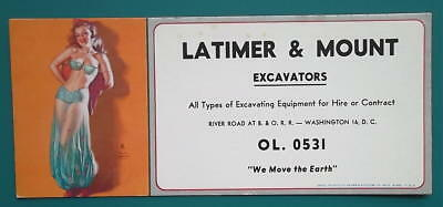 1950s INK BLOTTER AD Latimer & Mount Excavators + Pin-up Girl in Green Negligee