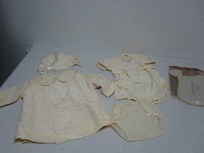 VINTAGE SILKY BABY CHRISTENING OUTFIT with ROBE COAT & BONNET HAT