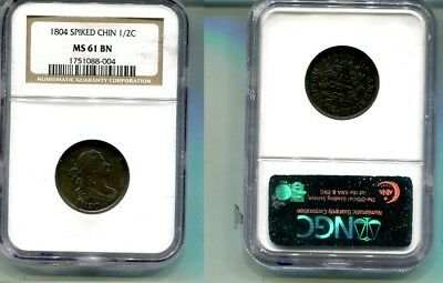 1804  Draped Bust  Half Cent Type Coin Ngc Ms61 Bn Spiked Chin Coin