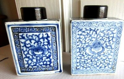 1910 Era Chinese Tea Caddies Light Blue & Dark Blue Same Design Wooden Tops Rare