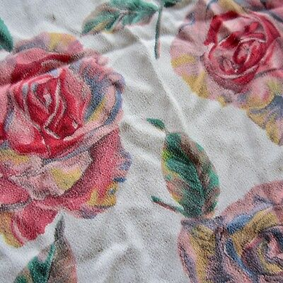 60cm x 86cm Vintage rayon  fabric 1940s Red Pink Roses Crepe Dress Sewing Retro