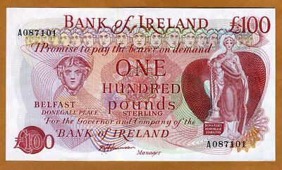 Bank of Ireland, Northern, 100 pounds, ND (1980s), P-68b, UNC > Rare