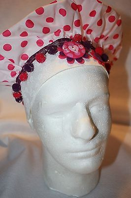 Handmade Womens White With Pink Polk-A-Dot Chef Hat With Pom-Poms, Cute!