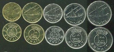 KUWAIT NEW ISSUE 5 DIF UNC COINS SET 5-100 FILS 2012 YEAR SHIPS