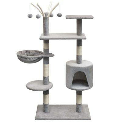 vidaXL Cat Tree 125cm Grey Scratching Post Scratcher Pole Gym House Furniture