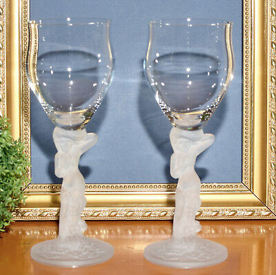* 2 x Vintage Art Deco Nude Lady Crystal Sherry Wine Glasses