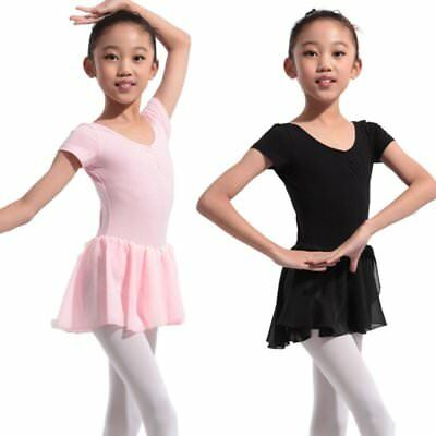 US Toddler Kids Girls Dress Leotard Dance Lace Short Sleeve Ballet Tutu Skirt