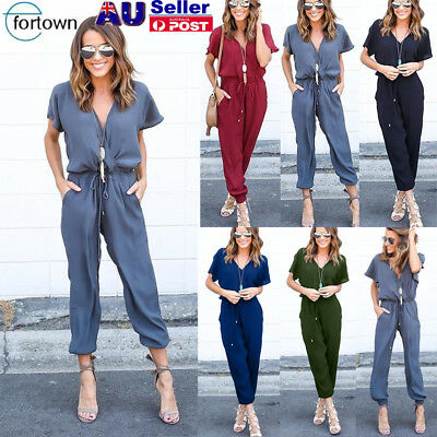 Women Bodycon V Neck Short Sleeve Jumpsuit Romper Playsuit Long Pants Trousers