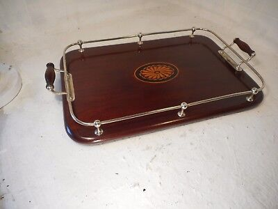 Antique inlaid Mahogany , Sliver Plate Gallery Tray  , ref 4064