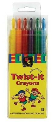 Twist It Crayons - Pack of 6 - Non Toxic - Brand New - Free Shipping
