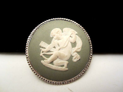 "Vintage 1-1/2"" Signed Wedgewood Porcelain Angel Brooch Pin New Old Stock AH13"