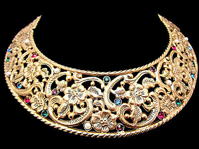 "Stunning Vtg 16""x1-1/2"" Antique Gold Tone Jeweled Rhinestone Collar Necklace A1"