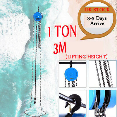 1 Ton Chain Block Hoist Heavy Duty Tackle Engine Lifting Pulley 3m to 6m