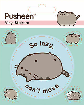 Pusheen - Lazy - Stickerset Aufkleber 10x12,5 cm mit 5 Sticker