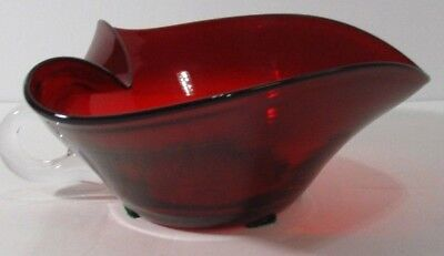 Red Hand Blown Glass Large Chamber Candle Stick Holder