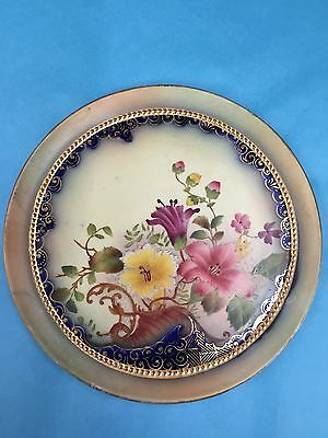 VIBRANT  FLOW BLUE and floral  TRIVET CARLTON WARE W & R c1900