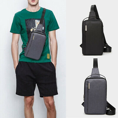 US Mens Sling Chest Bag Mini Casual Canvas Pack Anti-theft Shoulder Sports Purse