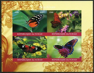 Chad 2018  Butterflies  Imperforate Sheet Of Four  Mint Nh