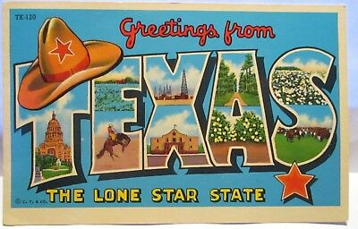Greetings from texas the lone star state large letter postcard 1940 large letter postcard greetings from texas lone star state m4hsunfo