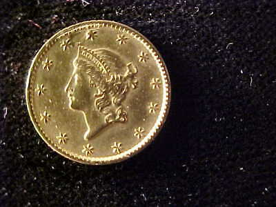 Gold One Dollar Type 1, 1849 Dent Obverse At 11:00, Rim Nicks, Cleaned