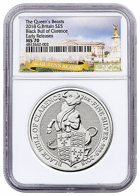 2018 Britain 2 oz Silver Queen's Beasts Black Bull Clarence NGC MS70 ER SKU53220