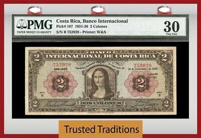 "Tt Pk 167 1931-36 Costa Rica 2 Colones ""stunning Mona Lisa"" Pmg 30 Very Fine Wow"