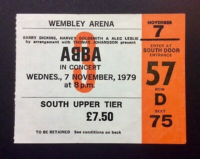ABBA - November 7, 1979 Used Concert Ticket Wembley Arena London