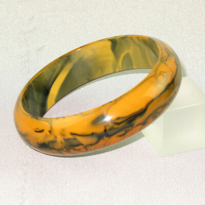 Vintage Bakelite Bracelet Bangle Rare Butterscotch & Black Marble