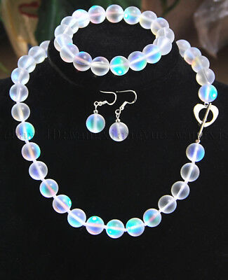 6-12mm White Gleamy Rainbow Moonstone Round Beads Necklace Bracelet Earrings AAA