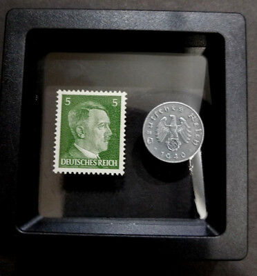 Rare WW2 German 5 Reichspfennig Coin & Unused Stamp Historical Artifacts