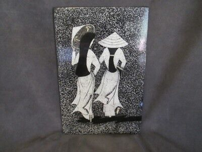 T2 Vintage Asian Lacquer Ware Plaque Girls Off To School Wearing Conical Hats