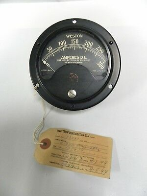 Vintage Weston Model 643 Amperes 0-300 DC Gauge Panel Meter (T)