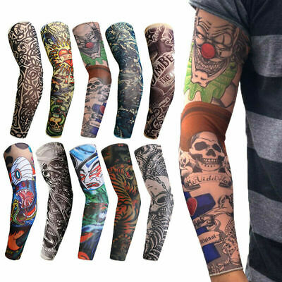 10X Tattoos Cooling Arm Sleeves Cover Body Arm Stockings Tatoo Golf Sport US