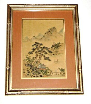 Antique Signed Chinese Print on Silk Matted & Framed Under Glass