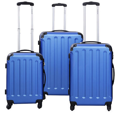 3 PCS Blue Luggage Set Bag Trolley Hard Shell Travel Suitcase Wheels Pull Handle
