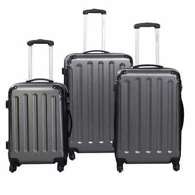 3 Pcs Gray Luggage Set Bag Trolley Hard Shell Travel Suitcase Coded Lock Wheels