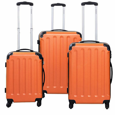 3 Pcs Orange Travel Luggage Suitcase Set Bag Trolley Hard Case Shell Lock Wheels