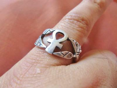 Antique Egyptian Silver Ring Band of Cross ANKH Key of Life_STAMPED...Size (9.5)