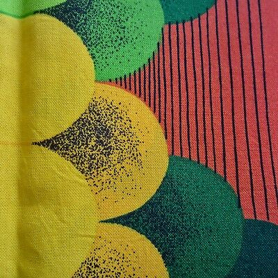 49cm x 118cm Vintage Cotton Curtain Fabric 1960s Giant Optical Orbs Red Green